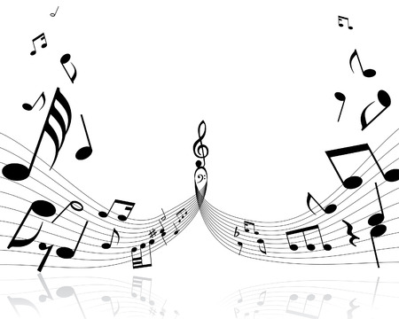 eighth: Musical notes background with lines. Vector illustration.