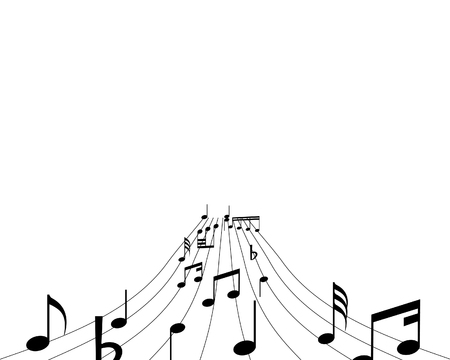 semiquaver: Musical notes background with lines. Vector illustration.