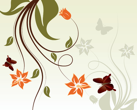 그린: Floral vector background with leaves and flowers 일러스트