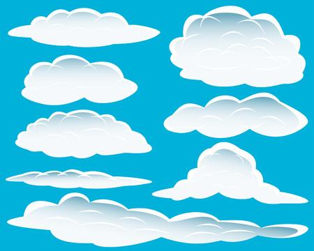 nubes caricatura: Conjunto de diferentes formas de las nubes para el dise�o de uso