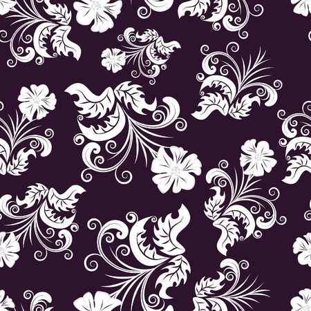 swatches: Floral seamless background for yours design use. For easy making seamless pattern just drag all group into swatches bar, and use it for filling any contours. Illustration