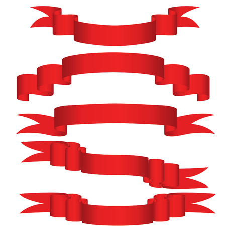 heading: Collection of vector brightly red ribbons in different shape