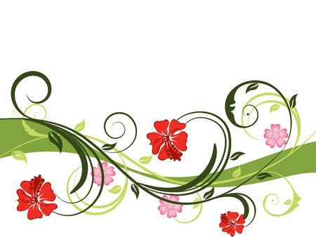 Floral vector background with leaves and flowers Stock Vector - 3378314