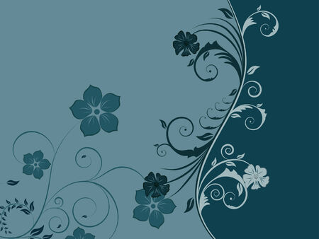 Floral vector background with leaves and flowers Stock Vector - 3378317