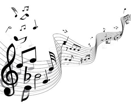 notes musicales: Les notes de fond avec des lignes. Illustration vectorielle.