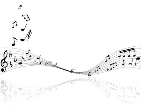 minims: Musical notes background with lines. Vector illustration.