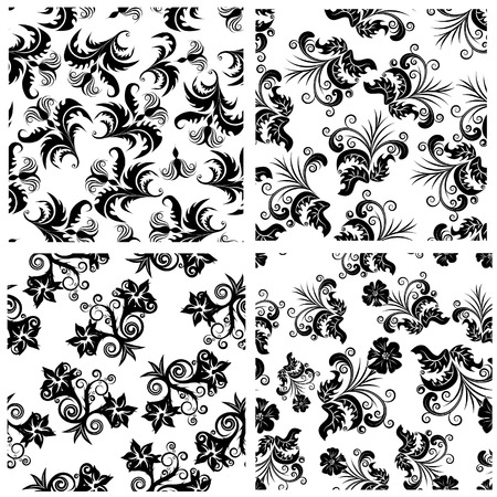 Floral seamless background for yours design use. For easy making seamless pattern just drag one of  groups into swatches bar, and use it for filling any contours. Vector