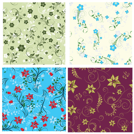 Floral seamless background for yours design use. For easy making seamless pattern just drag one of  groups into swatches bar, and use it for filling any contours. Stock Vector - 3386178