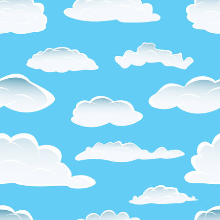 Seamless fluffy cloudy background for design use Vector