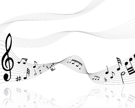 quavers: Musical notes background with lines. Vector illustration.