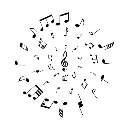 quavers: Musical notes background in circle shape. Vector illustration.