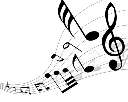 Musical notes background with lines. Vector illustration. Stock Vector - 3410024