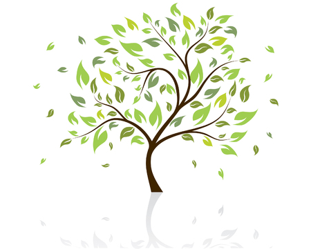 leaves vector: Vector illustration of tree with falling leaves