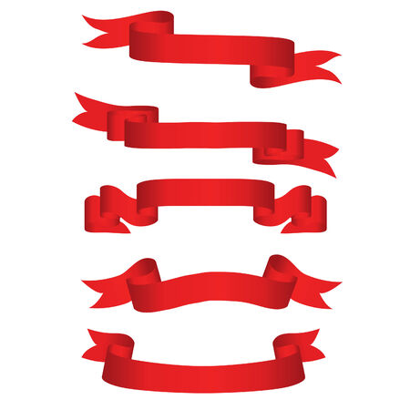vector ribbons: Collection of vector brightly red ribbons in different shape