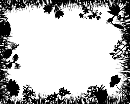 black and white forest: floral silhouette picture frames for design use