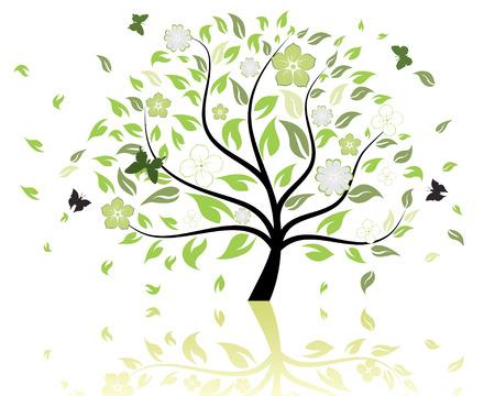 Vector illustration der Baum mit fallenden Blätter und Schmetterlinge
