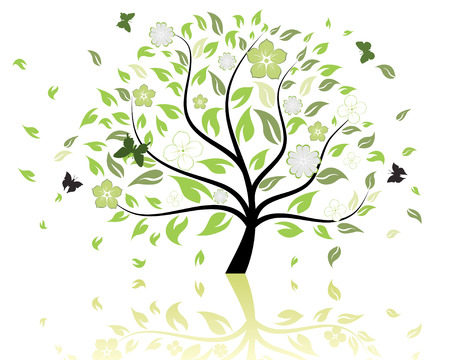 Vector illustration of tree with falling leaves and butterflies
