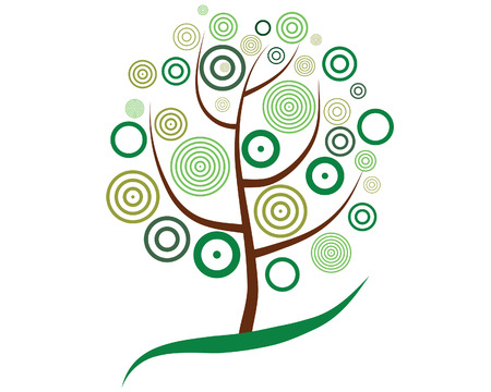 Vector illustration of tree with circle leaves Vector