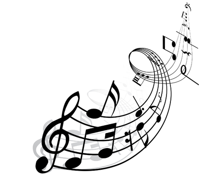 crotchets: Musical notes background with lines. Vector illustration.
