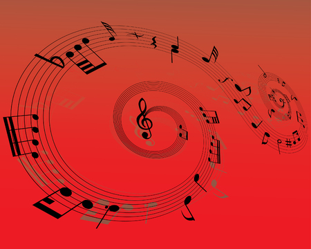 Musical note staff on the red background Stock Vector - 3444615