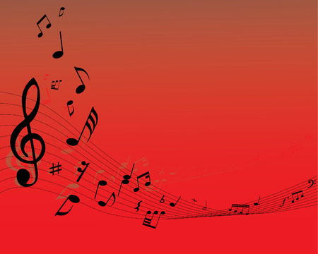 pentagrama musical: Nota musical personal en el fondo rojo  Vectores