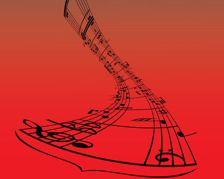 crotchets: Musical note staff on the red background Illustration