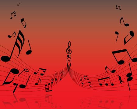 viertelnote: Musiknote Personal auf dem roten Hintergrund