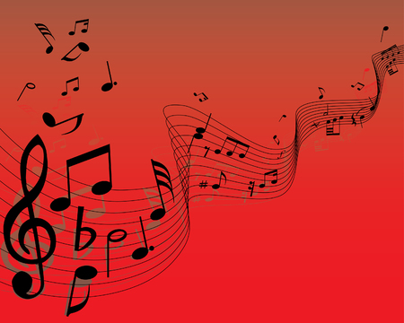 Musical note staff on the red background Illustration