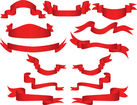 Collection of vector brightly red ribbons in different shape Stock Vector - 3468688