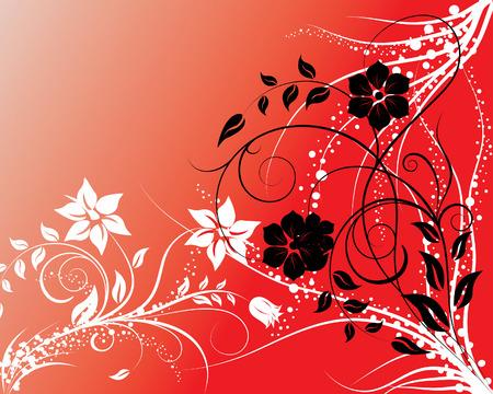 Floral ilustración vectorial sobre fondo rojo gradiente