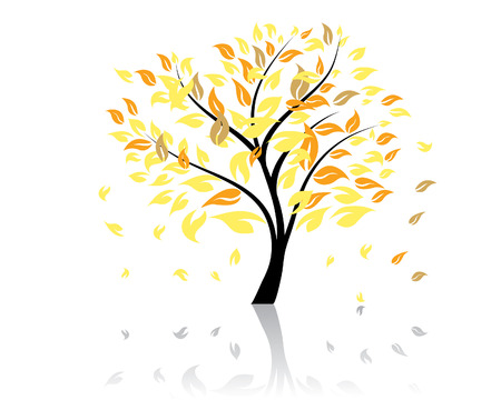 jungle vector: Vector illustration of autumn tree with falling leaves Illustration