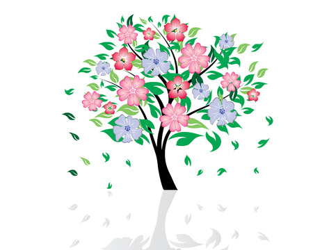 Vector illustration of blossom tree with falling leaves