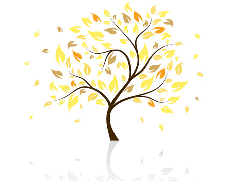 Vector illustration of autumn tree with falling leaves Illustration