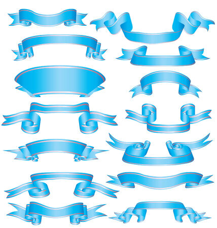 azure: big collection of vector azure ribbons on white Illustration
