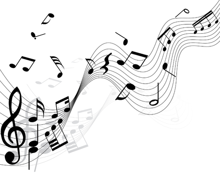 Musical notes background with lines. Vector illustration. Stock Vector - 3558488