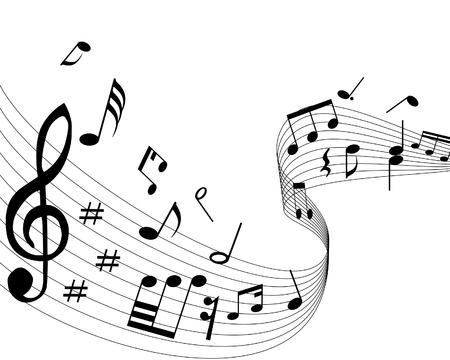 notas musicales: Notas musicales con las l�neas de fondo. Ilustraci�n vectorial.