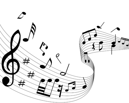 spartiti: Note musicali con le linee di fondo. Illustrazione vettoriale. Vettoriali