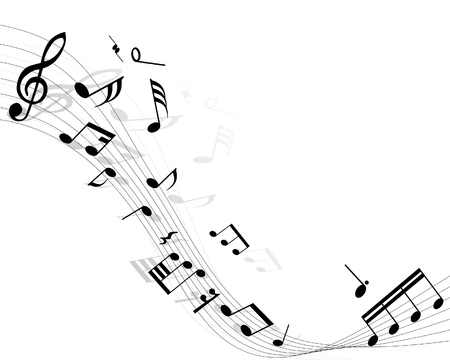 Musical notes background with lines. Vector illustration. Stock Vector - 3558312