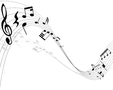 Musical notes background with lines. Vector illustration. Stock Vector - 3558479