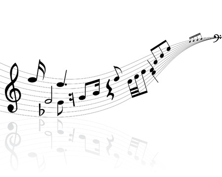 Musical notes background with lines. Vector illustration. Stock Vector - 3558481