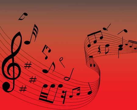 Musical note staff on the red background Vector