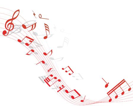 viertelnote: Musiknote Mitarbeiter auf dem roten Hintergrund Illustration