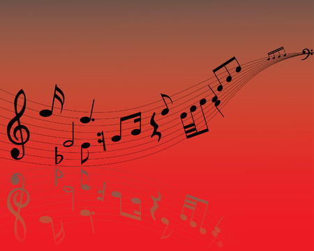 quavers: Musical note staff on the red background Illustration