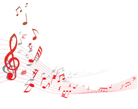 minims: Musical note staff on the red background Illustration