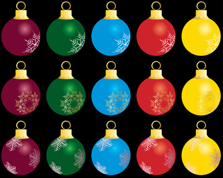 Set of Christmas (New Year) balls for design use. Vector illustration. Stock Vector - 3858635
