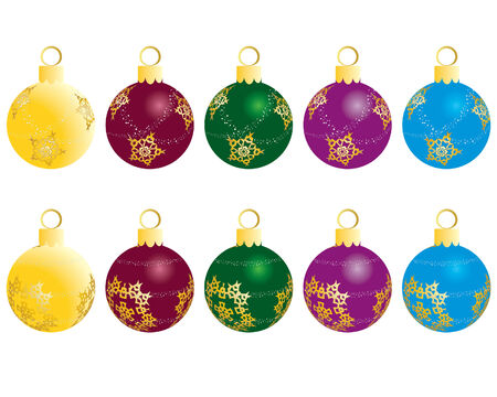 Set of Christmas (New Year) balls for design use. Vector illustration. Vector