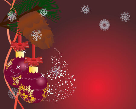 Christmas (New Year) postcard. Vector illustration.  Vector