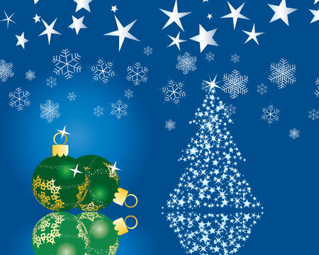 Christmas (New Year) fir-tree with stars. Vector background.  Vector