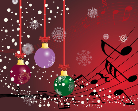 classical music: Christmas (New Year)greeting postcard with musical staff. Vector background.  Illustration