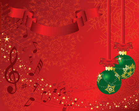 Christmas (New Year)greeting postcard with musical staff. Vector background.  Illustration